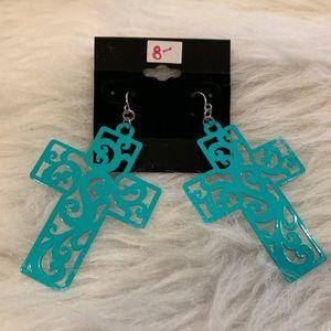 Teal Cross Earrings